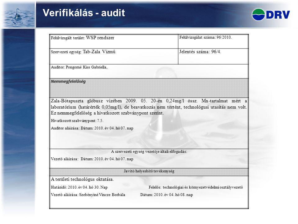 Verifikálás - audit Jelentés száma: 96/4.
