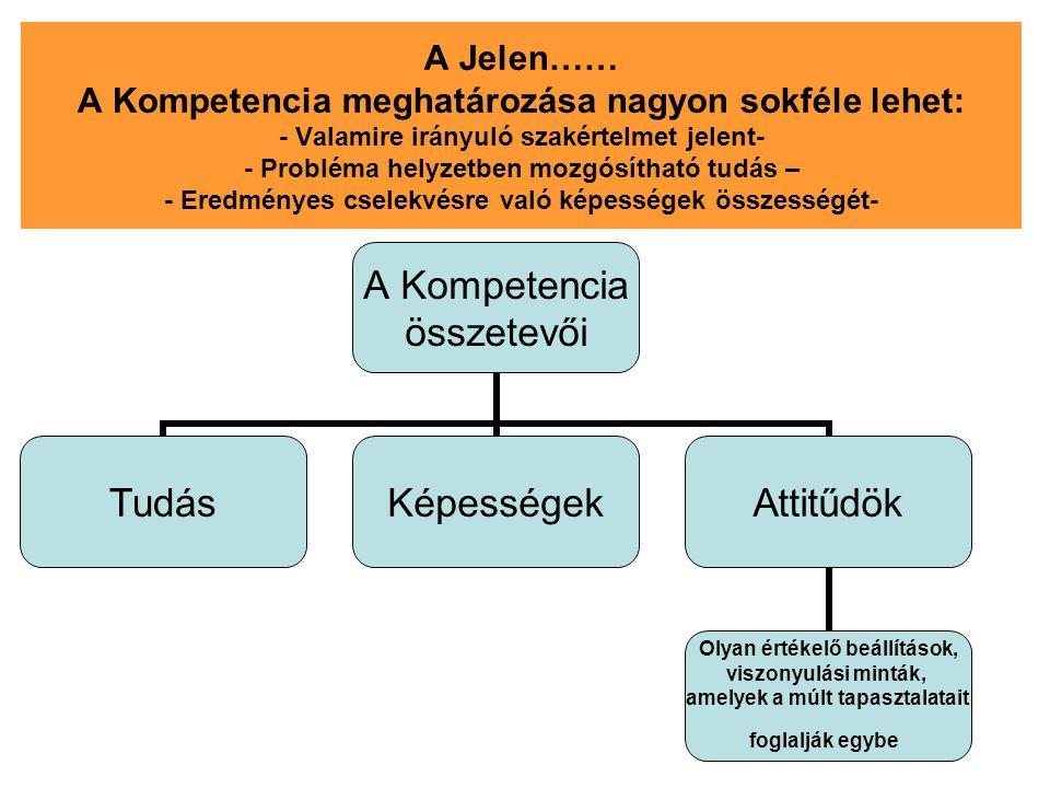 A Jelen…… A Kompetencia meghatározása nagyon sokféle lehet: - Valamire irányuló szakértelmet jelent- - Probléma helyzetben mozgósítható tudás – - Eredményes cselekvésre való képességek összességét-