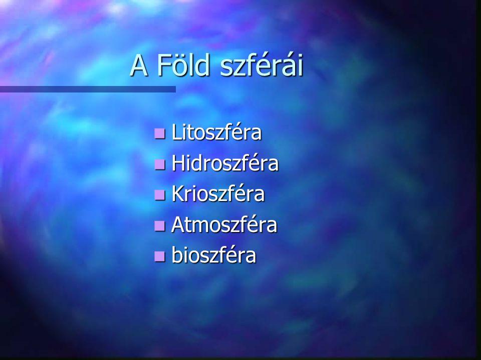 A Föld szférái Litoszféra Hidroszféra Krioszféra Atmoszféra bioszféra