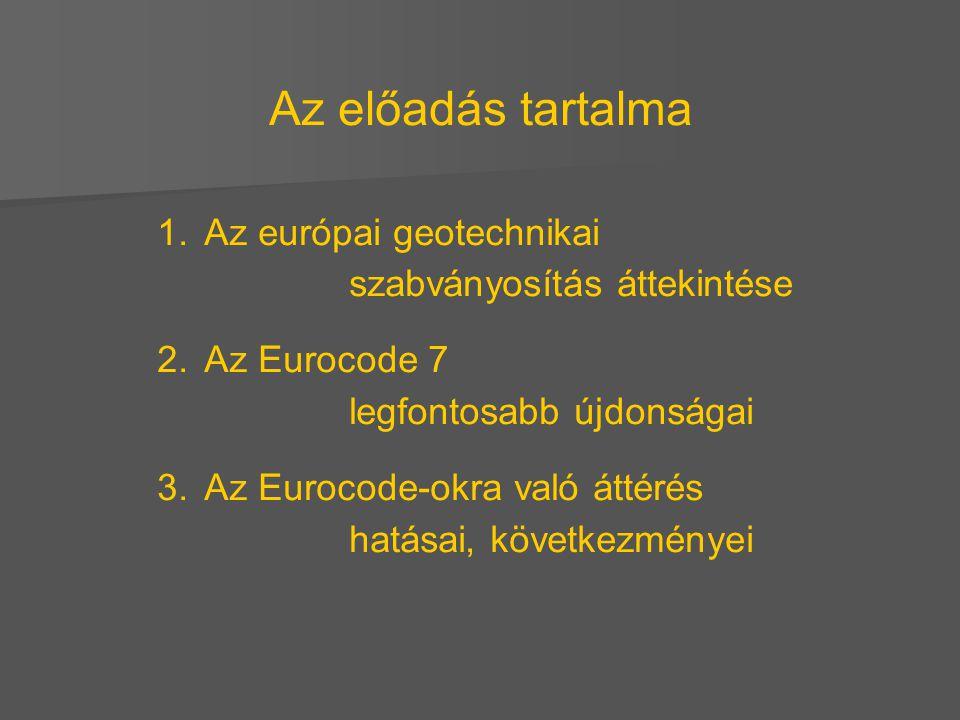 Az előadás tartalma Az európai geotechnikai szabványosítás áttekintése
