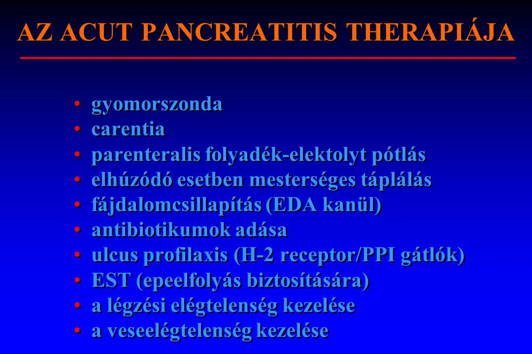 AZ ACUT PANCREATITIS THERAPIÁJA