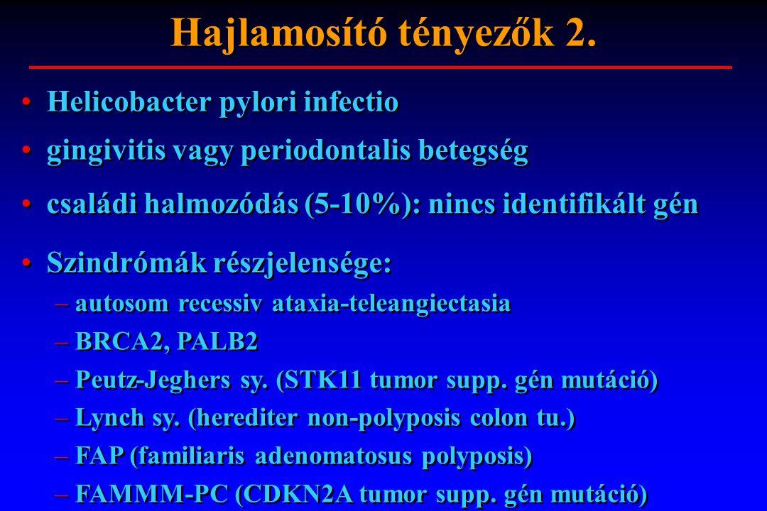 Hajlamosító tényezők 2. Helicobacter pylori infectio