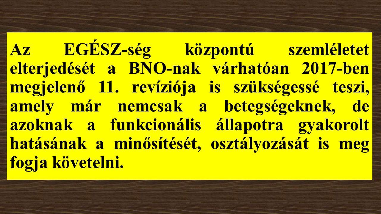 Az EGÉSZ-ség központú szemléletet elterjedését a BNO-nak várhatóan 2017-ben megjelenő 11.
