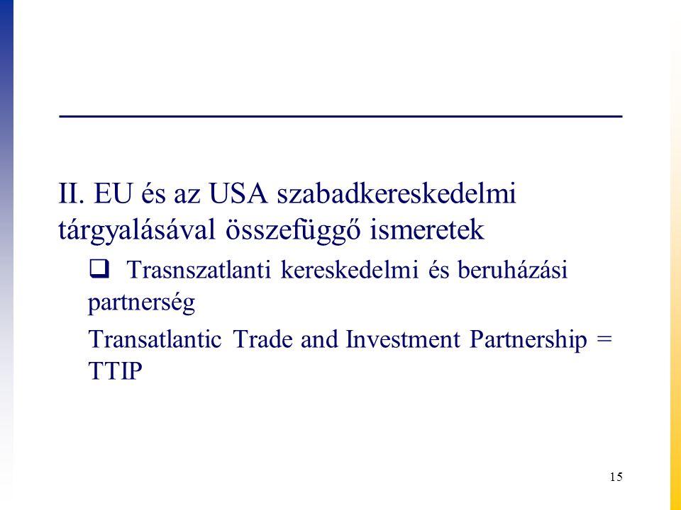 II. EU és az USA szabadkereskedelmi tárgyalásával összefüggő ismeretek