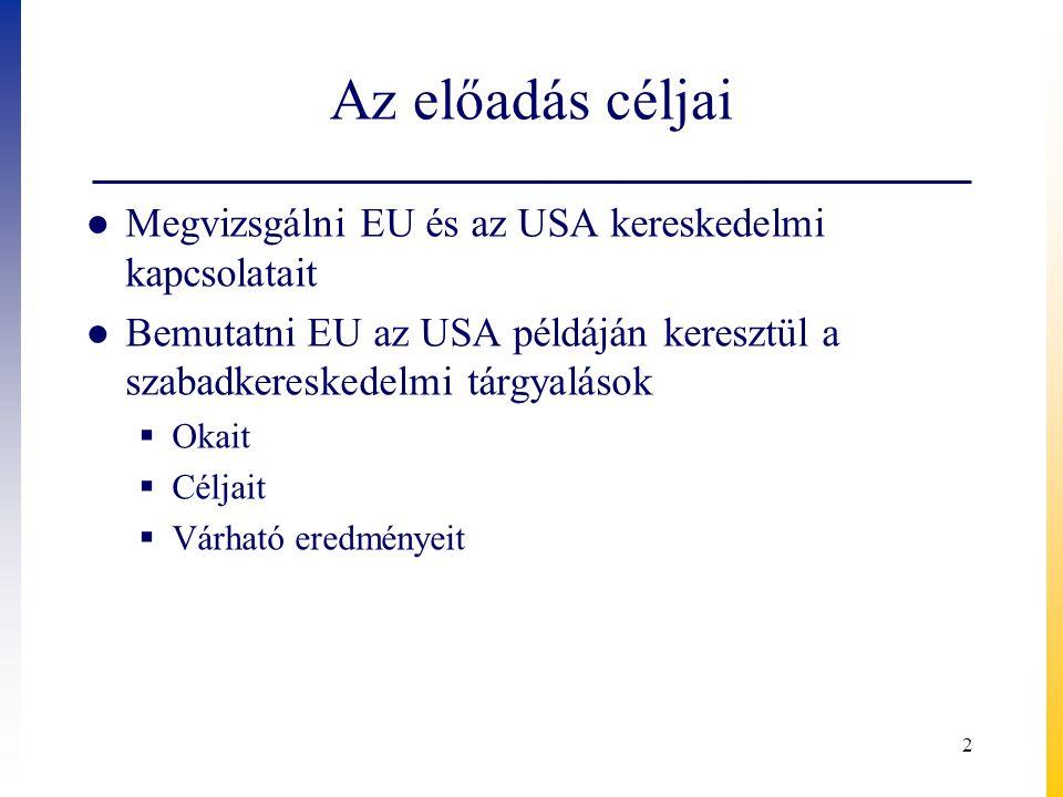 Az előadás céljai Megvizsgálni EU és az USA kereskedelmi kapcsolatait
