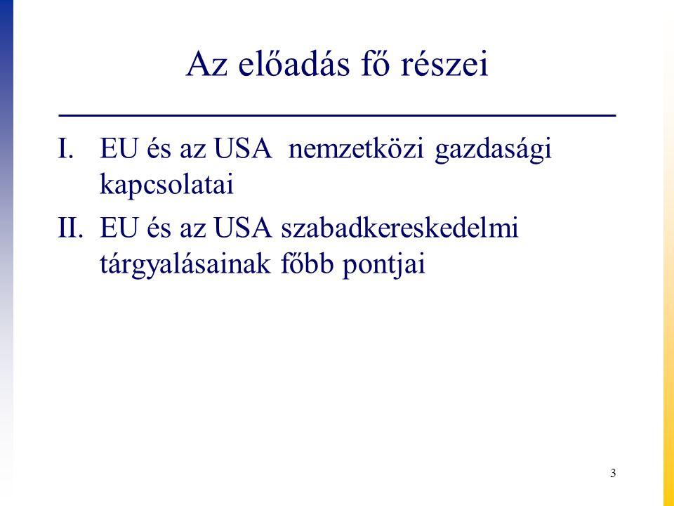 Az előadás fő részei EU és az USA nemzetközi gazdasági kapcsolatai