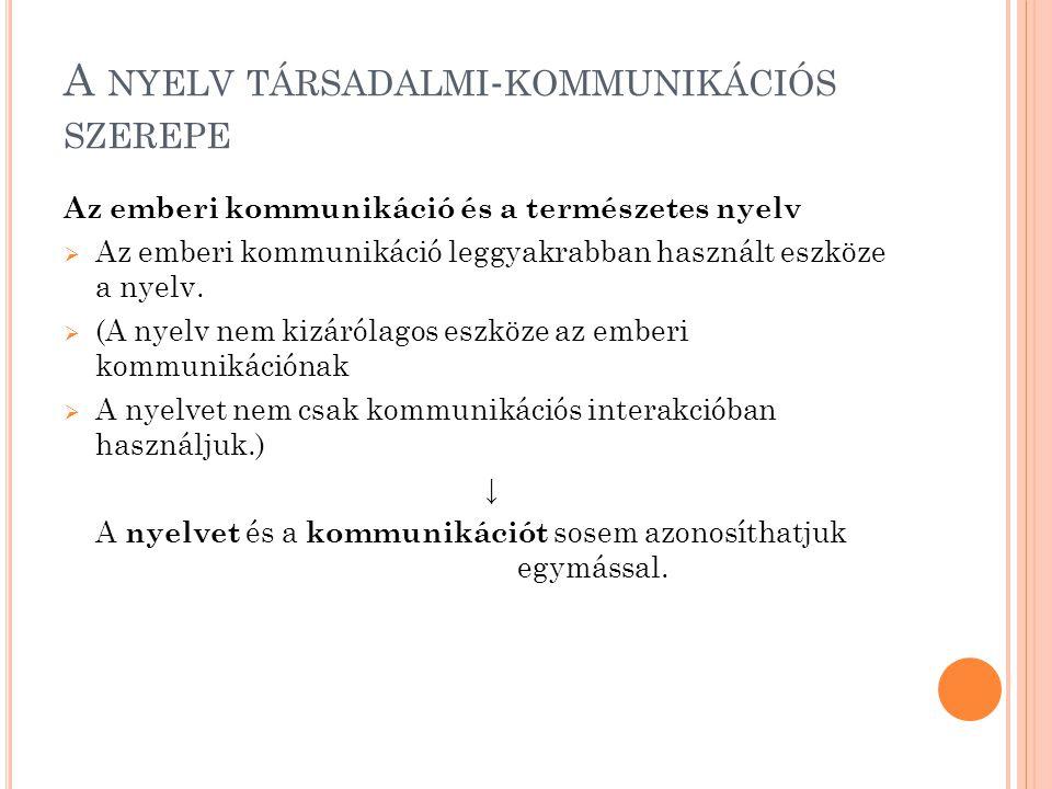 A nyelv társadalmi-kommunikációs szerepe