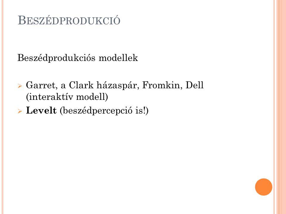 Beszédprodukció Beszédprodukciós modellek
