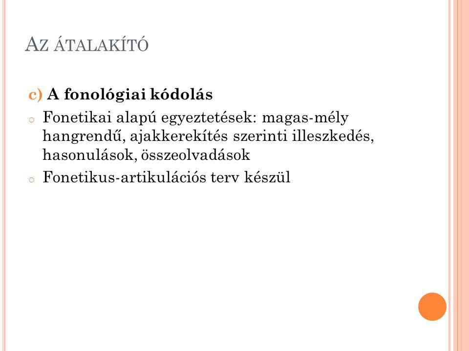 Az átalakító c) A fonológiai kódolás