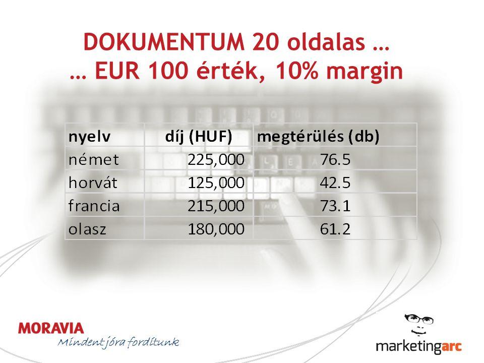 DOKUMENTUM 20 oldalas … … EUR 100 érték, 10% margin