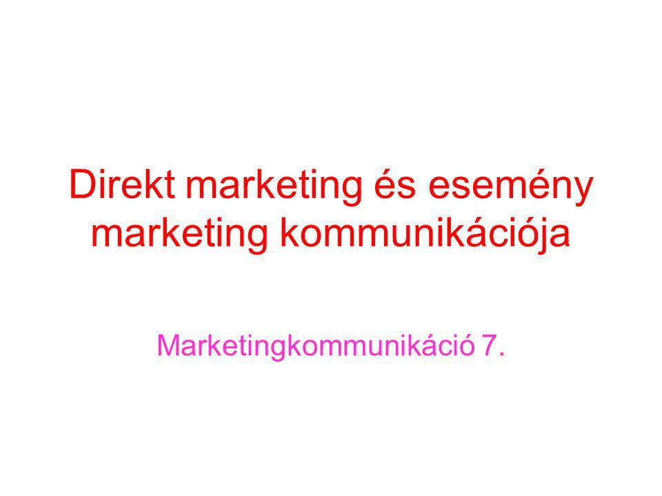 Direkt marketing és esemény marketing kommunikációja