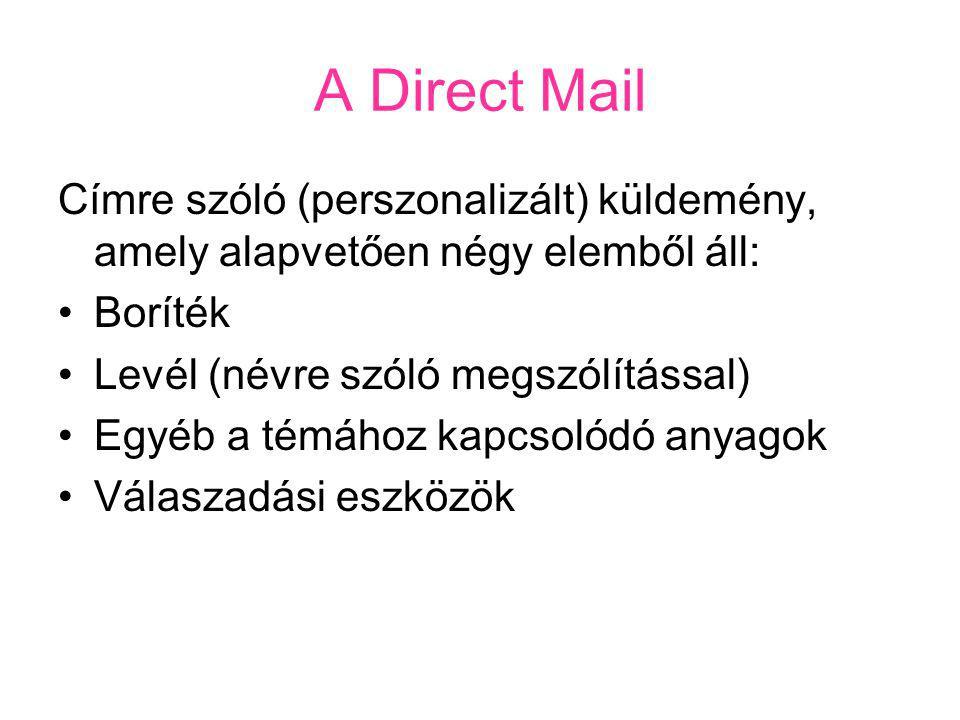 A Direct Mail Címre szóló (perszonalizált) küldemény, amely alapvetően négy elemből áll: Boríték. Levél (névre szóló megszólítással)