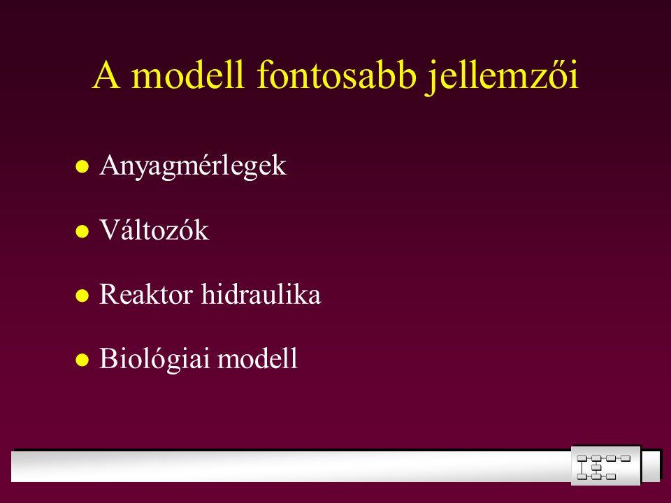 A modell fontosabb jellemzői