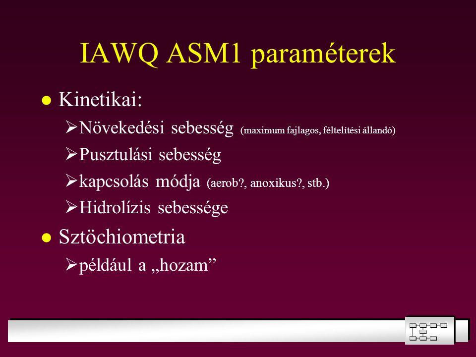 IAWQ ASM1 paraméterek Kinetikai: Sztöchiometria