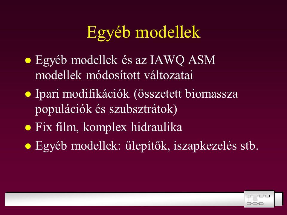 Egyéb modellek Egyéb modellek és az IAWQ ASM modellek módosított változatai. Ipari modifikációk (összetett biomassza populációk és szubsztrátok)