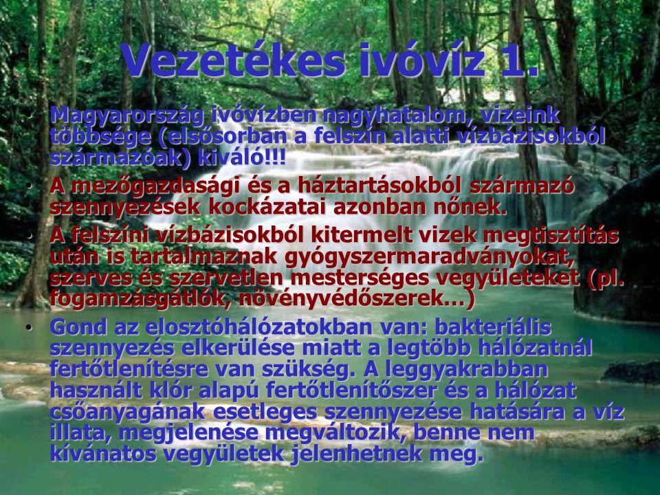 Vezetékes ivóvíz 1. Magyarország ivóvízben nagyhatalom, vizeink többsége (elsősorban a felszín alatti vízbázisokból származóak) kiváló!!!