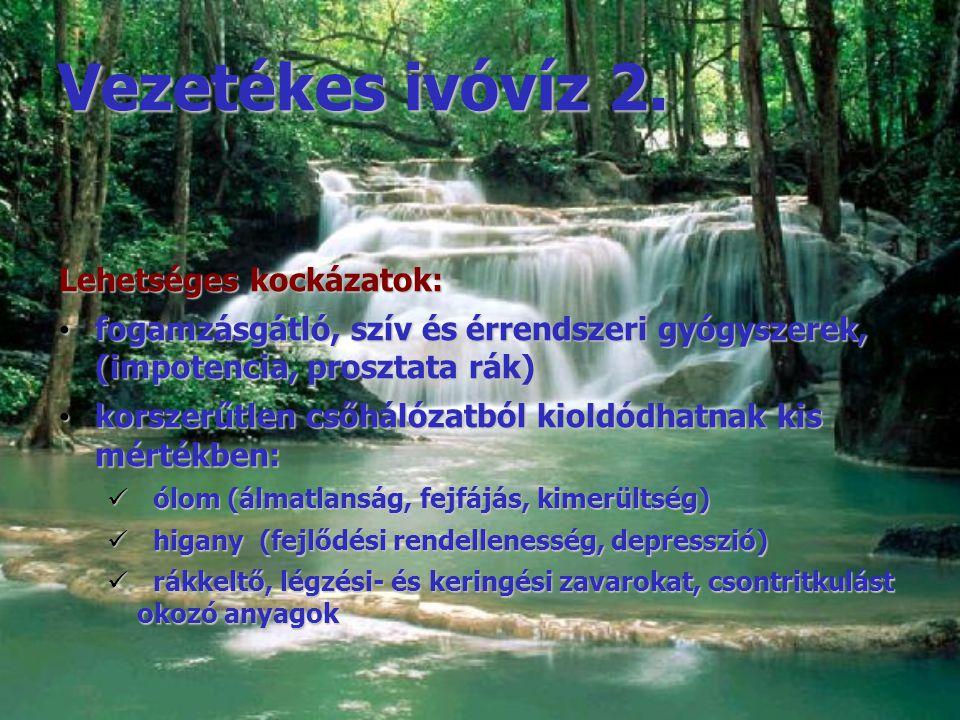 Vezetékes ivóvíz 2. Lehetséges kockázatok: