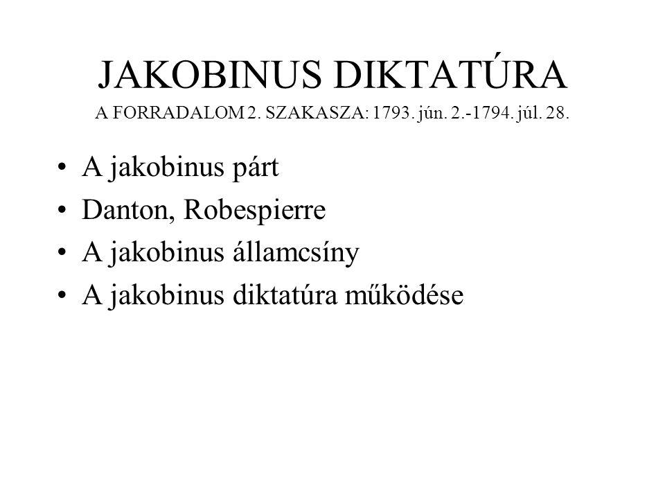 JAKOBINUS DIKTATÚRA A FORRADALOM 2. SZAKASZA: 1793. jún. 2. -1794. júl