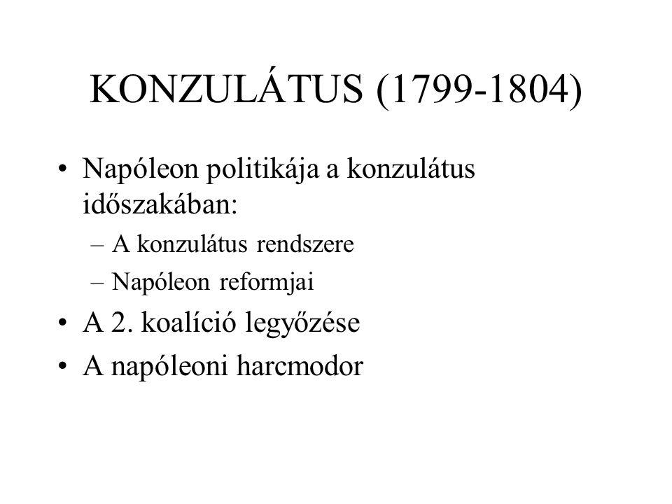 KONZULÁTUS (1799-1804) Napóleon politikája a konzulátus időszakában: