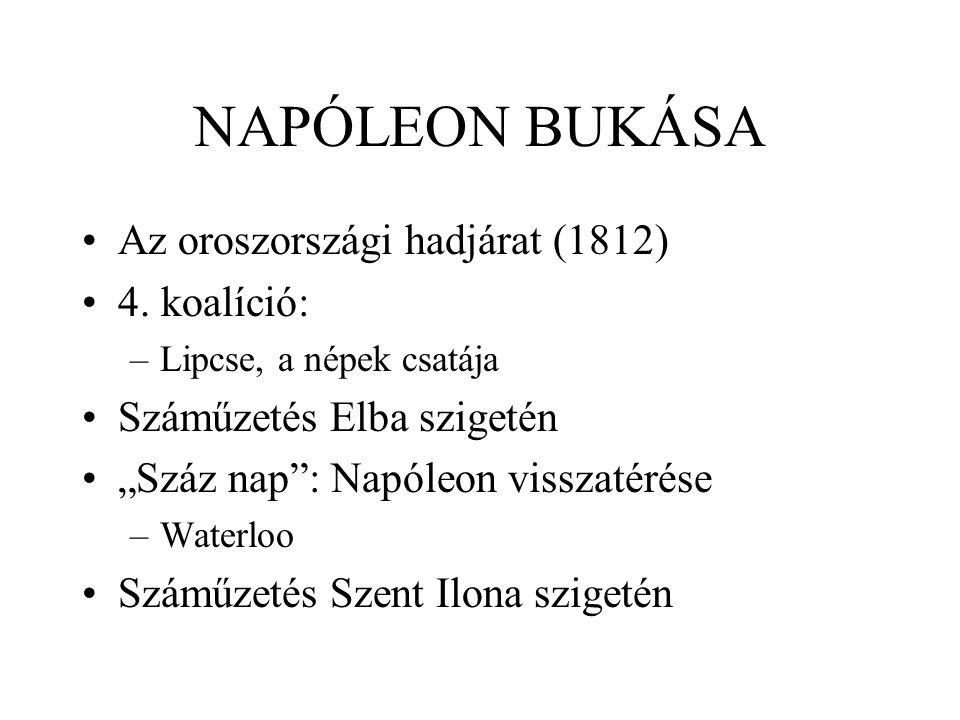 NAPÓLEON BUKÁSA Az oroszországi hadjárat (1812) 4. koalíció: