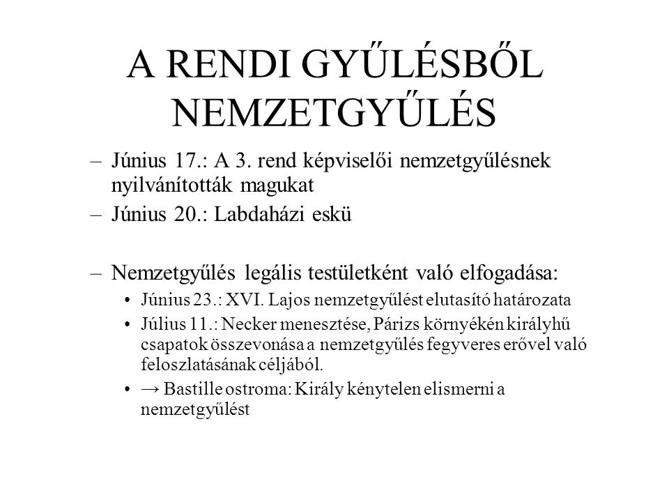 A RENDI GYŰLÉSBŐL NEMZETGYŰLÉS