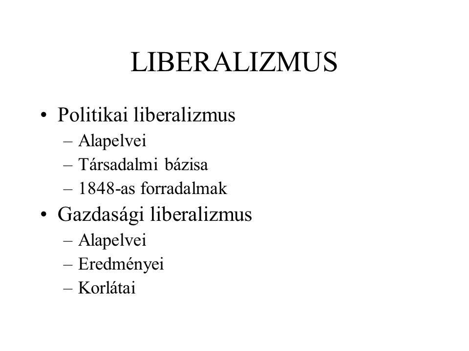 LIBERALIZMUS Politikai liberalizmus Gazdasági liberalizmus Alapelvei