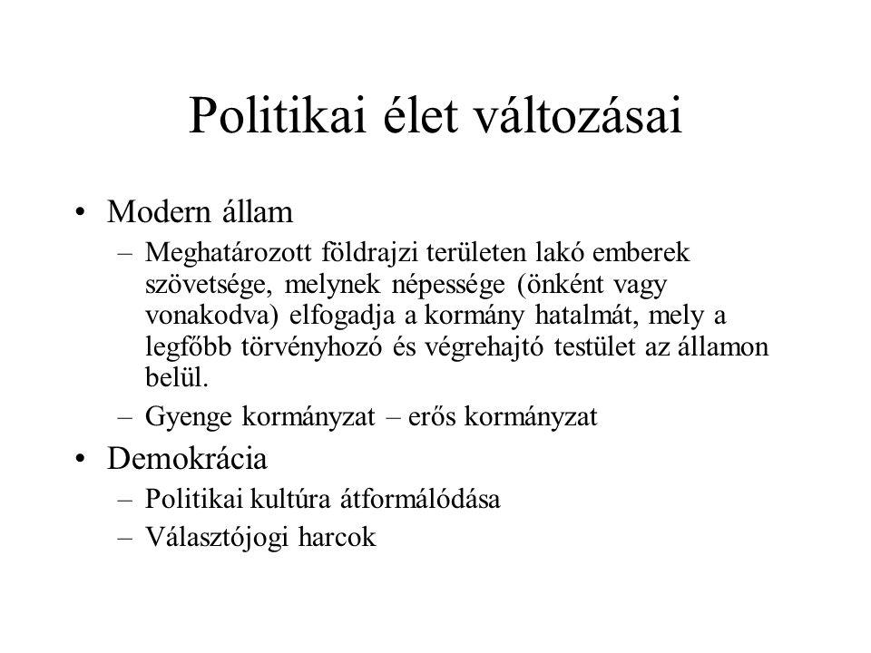 Politikai élet változásai