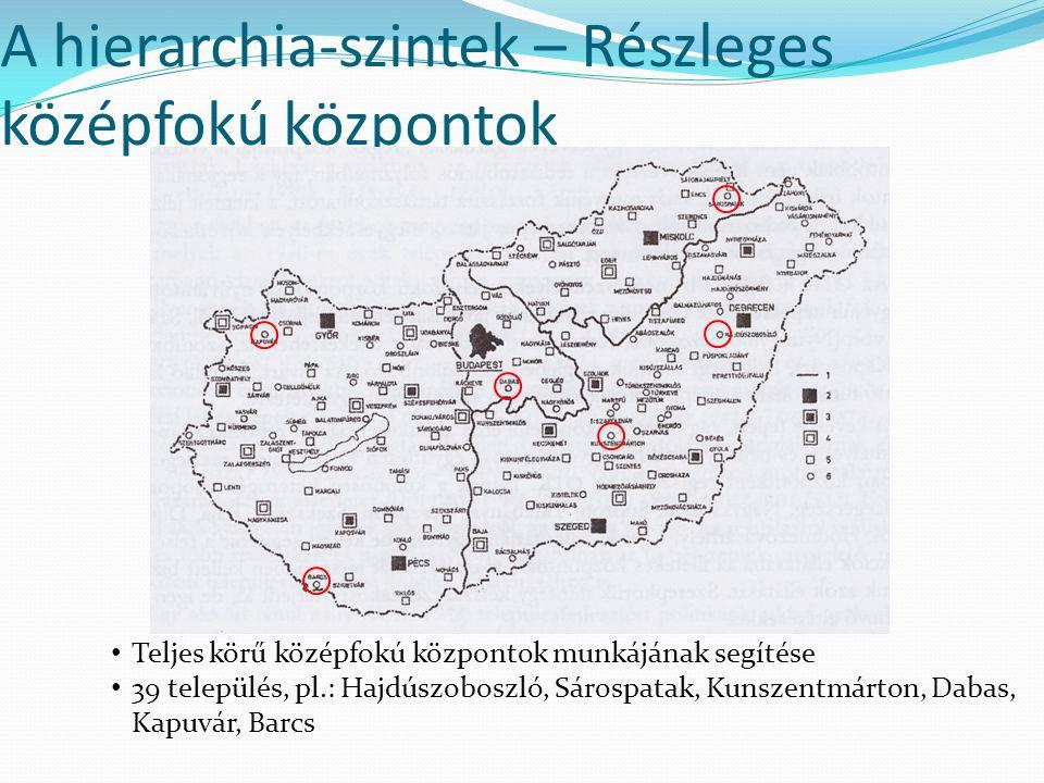A hierarchia-szintek – Részleges középfokú központok