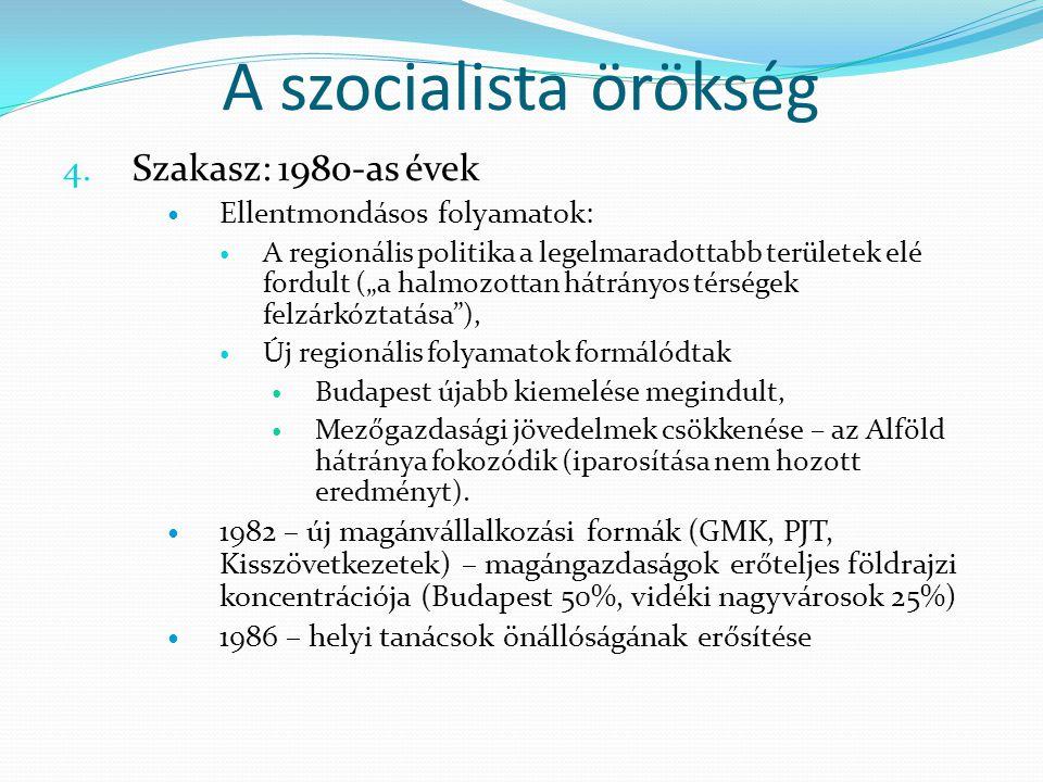 A szocialista örökség Szakasz: 1980-as évek Ellentmondásos folyamatok: