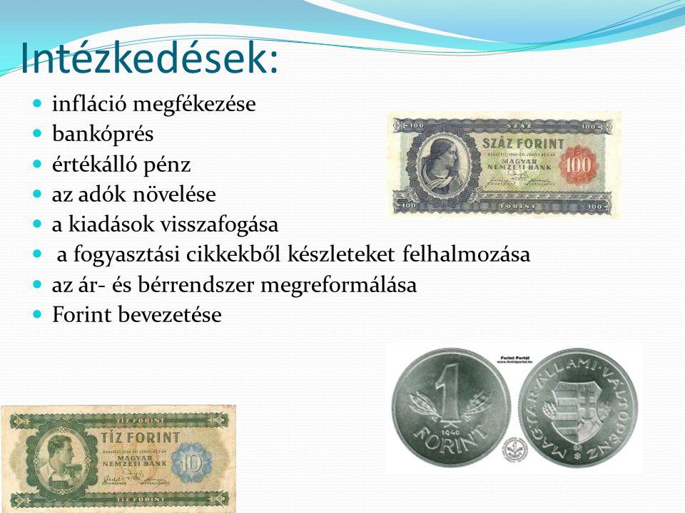 Intézkedések: infláció megfékezése bankóprés értékálló pénz