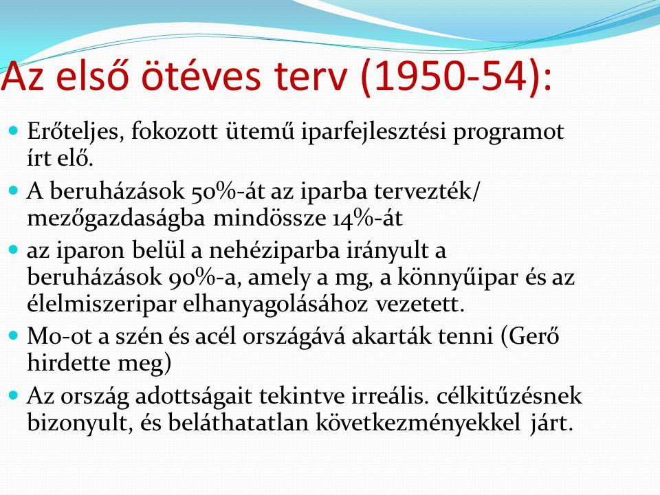 Az első ötéves terv (1950-54):