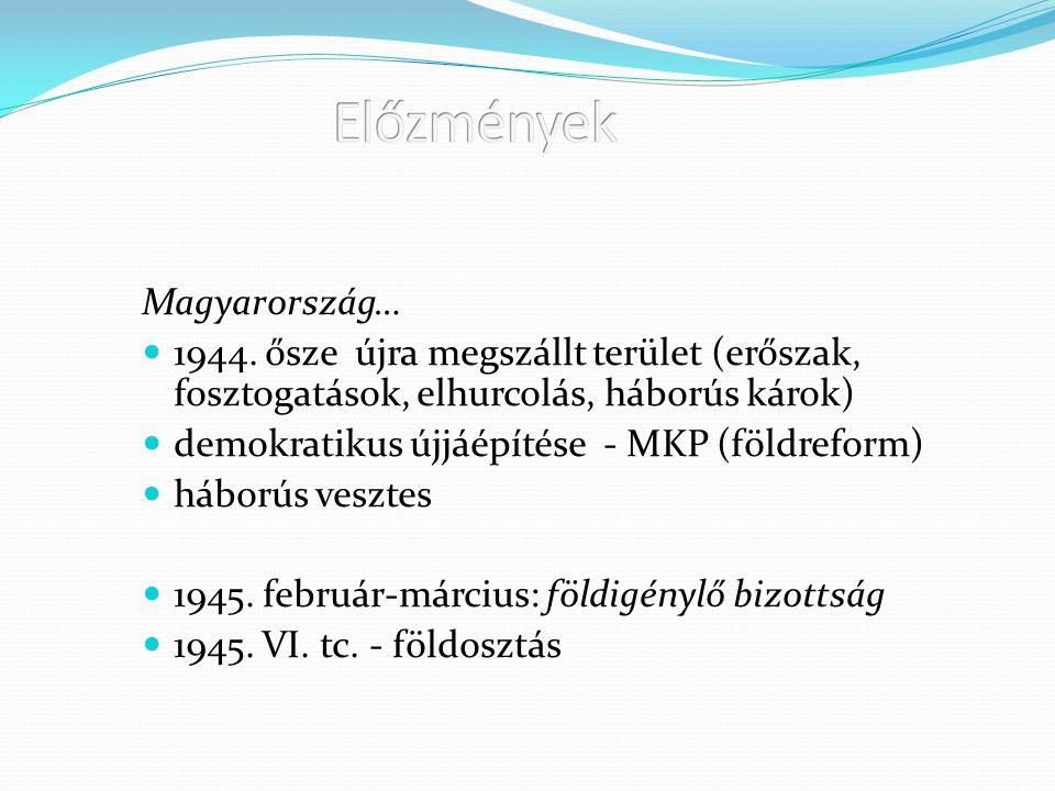 Előzmények Magyarország…