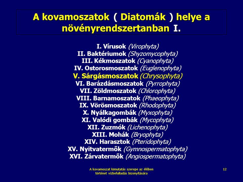 A kovamoszatok ( Diatomák ) helye a növényrendszertanban I.
