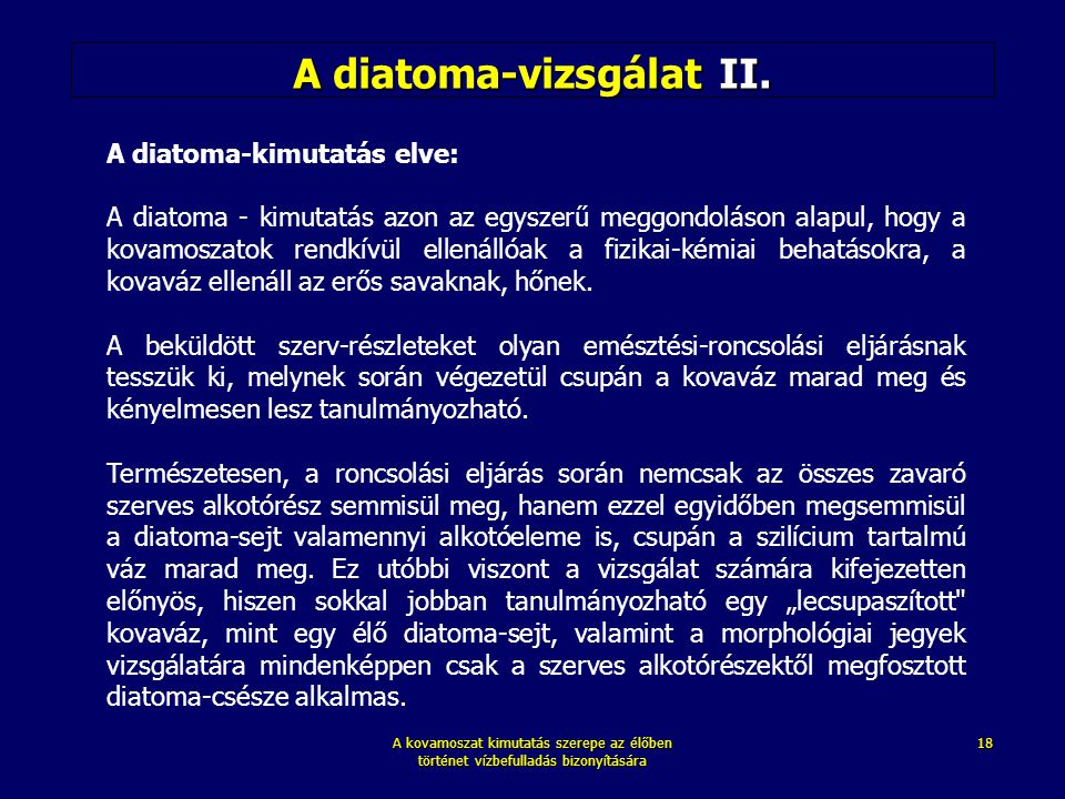 A diatoma-vizsgálat II.