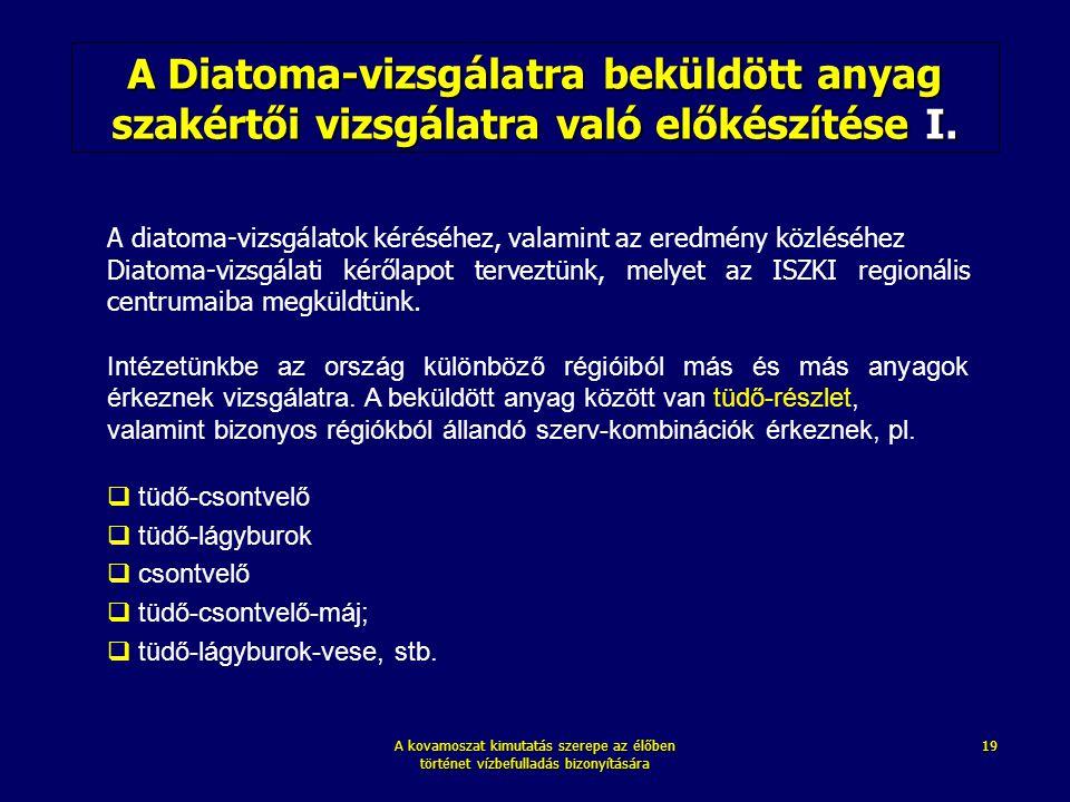 A Diatoma-vizsgálatra beküldött anyag szakértői vizsgálatra való előkészítése I.