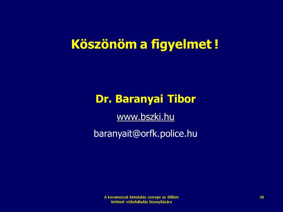 Köszönöm a figyelmet ! Dr. Baranyai Tibor www.bszki.hu