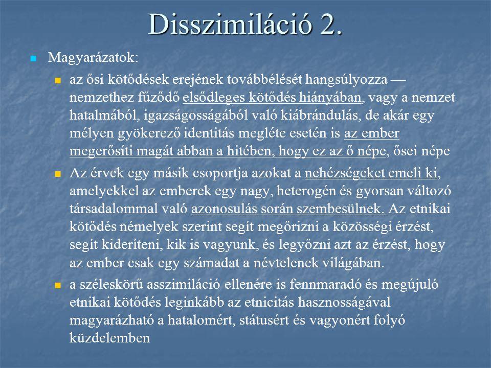Disszimiláció 2. Magyarázatok: