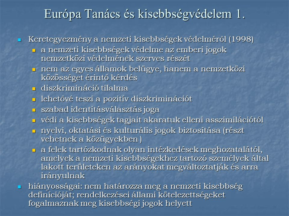 Európa Tanács és kisebbségvédelem 1.