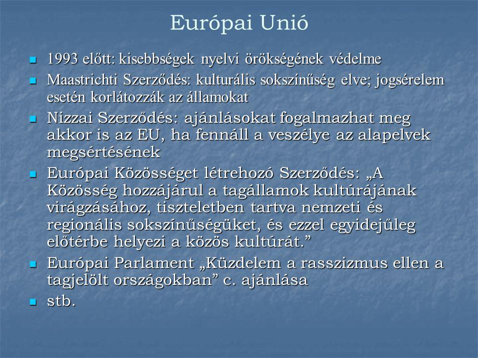 Európai Unió 1993 előtt: kisebbségek nyelvi örökségének védelme