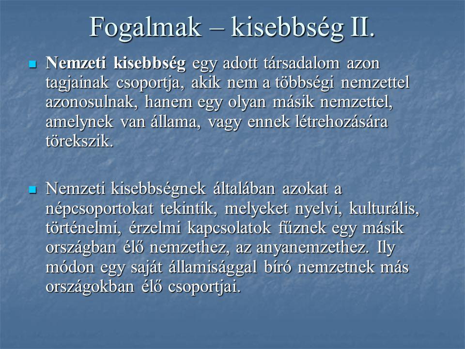 Fogalmak – kisebbség II.