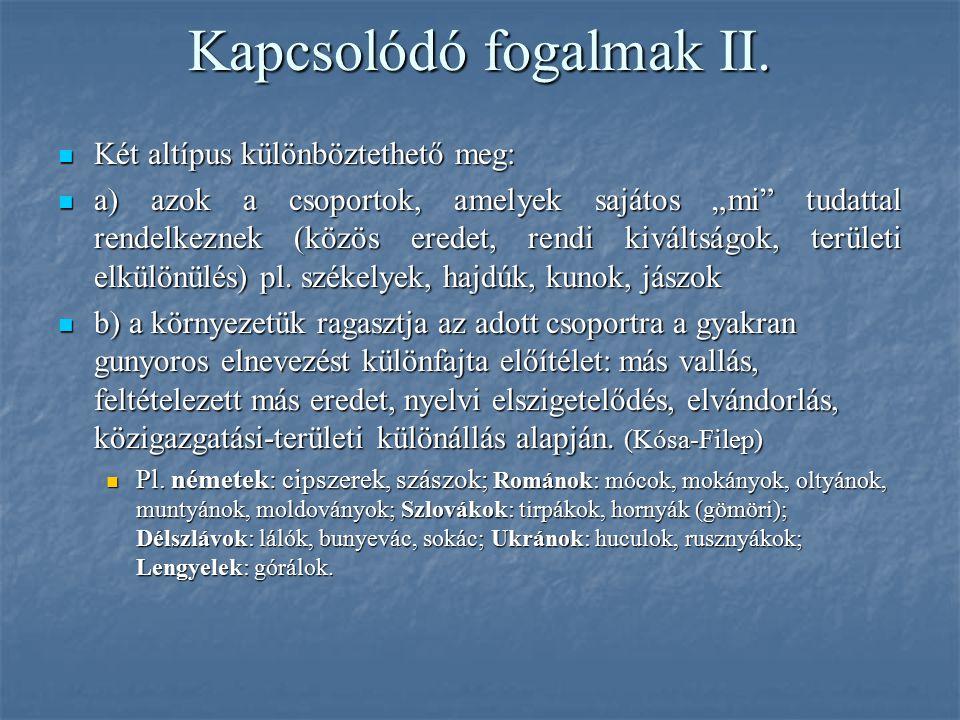Kapcsolódó fogalmak II.