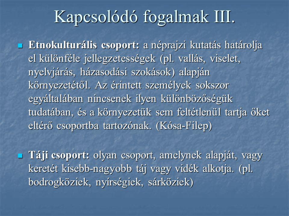 Kapcsolódó fogalmak III.