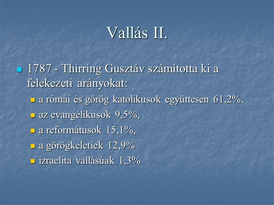 Vallás II. 1787 - Thirring Gusztáv számította ki a felekezeti arányokat: a római és görög katolikusok együttesen 61,2%,