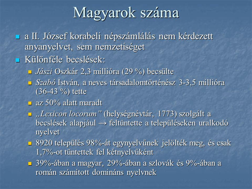 Magyarok száma a II. József korabeli népszámlálás nem kérdezett anyanyelvet, sem nemzetiséget. Különféle becslések: