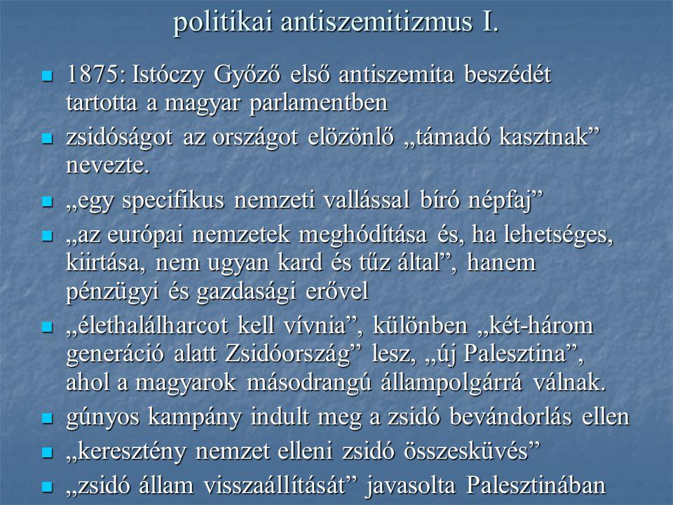 politikai antiszemitizmus I.