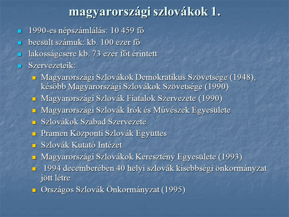 magyarországi szlovákok 1.