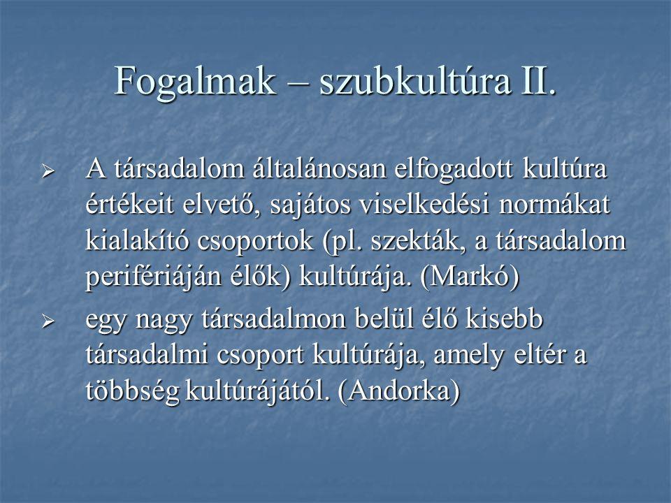 Fogalmak – szubkultúra II.