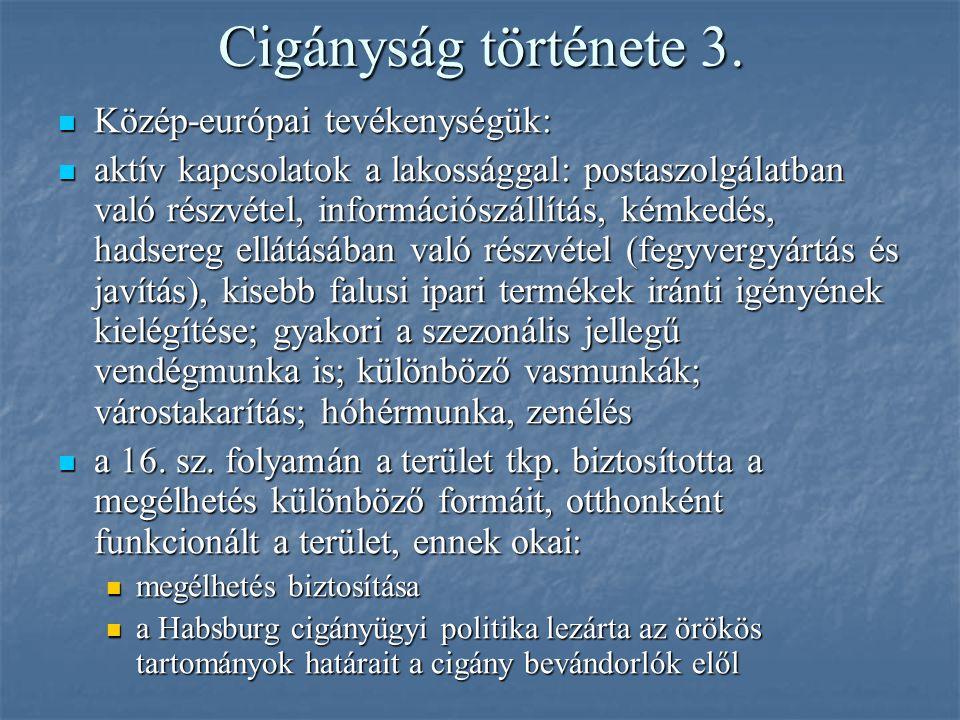 Cigányság története 3. Közép-európai tevékenységük: