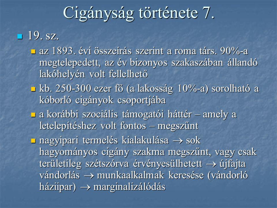 Cigányság története 7. 19. sz.