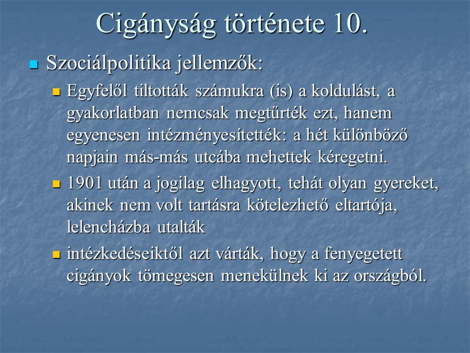 Cigányság története 10. Szociálpolitika jellemzők:
